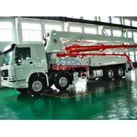 Quality 8x4 HOWO Truck Chassis Concrete Boom Truck , 48 / 52m Concrete Boom Pump Truck for sale