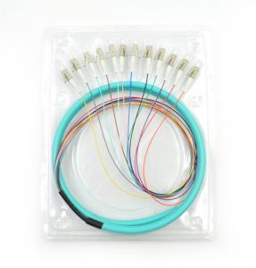 Quality LC/UPC 50/125 APC OM3 3m 12core Fiber Optic Pigtail for sale
