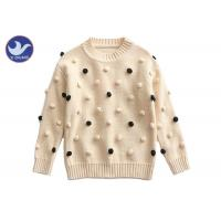 Quality Pompom Ball Decoration Girls Pullover Sweaters Cute Cotton Mock Neck Knit Jumper for sale