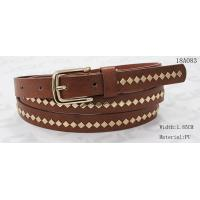China Polished Patterns Womens Fashion Belts With Gold Buckle And Square Metal Studs 1.85cm Width for sale
