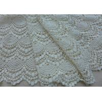 China Vintage French Crocheted Cotton Lace Fabric Scalloped Edge Hollow Out Ivory Dots on sale