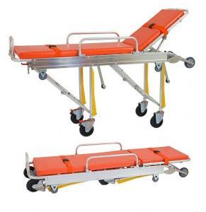Quality Ambulance Folding Patient Transport Stretchers Aluminum Loading With IV Pole for sale