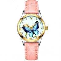 Buy cheap Woman Hollow-out Automatic Mechanical Watch Leather Strap Ladies Customized from wholesalers
