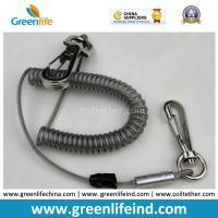 Quality High Pulling Wire Core PU Coated Spiral Coiled Tool Lanyard for sale