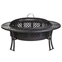 China Outdoor Garden leisure party New steel table fire pit with screen and cover on sale