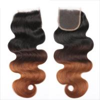 Quality Three Tone Virgin 4x4 Hair Closure , Hand Tied 4x4 Free Part Closure for sale
