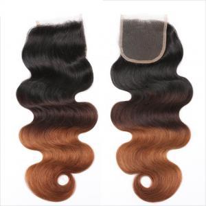 Three Tone Virgin 4x4 Hair Closure , Hand Tied 4x4 Free Part Closure