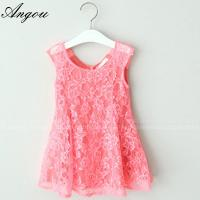 Quality Angou SUMMER NEW children clothes girls beautiful lace dress baby girls dress wholesale for sale