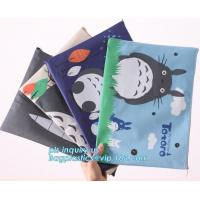 Quality Stationery A4 Paper Waterproof Office Zipper File Bag, Office Stationery Bright Colors OEM File Bag Pocket Clear PVC Bag for sale