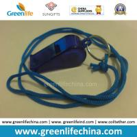 Quality OEM Wholesale Custom Translucent Dark Blue Plastic Sport Whistle with Key Ring&Round Cord for sale