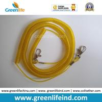 Quality Wholesale Greenlife Factory Robster Clip Stretch Transparent Yellow 5M Tool Coil Lanyard for Fishing anti-drop for sale