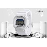 Quality Multifunction LCD Digital Watches White PU Strap EL Backlight Electronic Watch for sale
