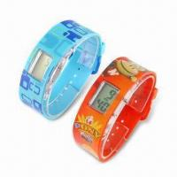 China Plastic LCD Wrist Watches with Date, Time and 12/24 Hours Funtions on sale