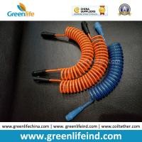 Quality Custom Orange/Blue Anti-lost Spring Lanyard Semi-finished Tethers w/Connectors for sale