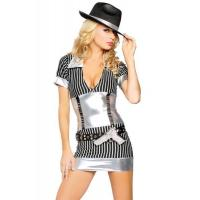 Quality Gangster Cosplay Halloween Costume , Miss Mafiosa Fancy Dress Costumes Customized for sale