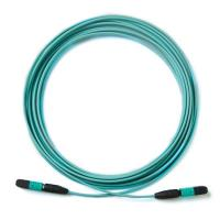 Quality MPO-MPO Aqua  Multimode OM3 patch cord pigtail 24 core 12 core fiber cable for sale
