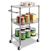 """Quality 3 - Tier Wire Rolling Cart / Food Chrome Steel Utility Cart 24""""W X 14""""D X 36""""H for sale"""