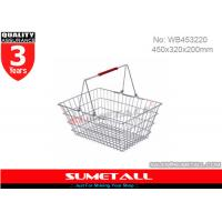 Best Shining Surface Metal WIre Shopping Basket With Handles For Supermarket wholesale