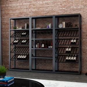 Quality Black Metal Wine Shelf / Custom Metal Shelving With Large Storage Capacity for sale