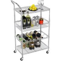 Quality Removable Tray 4 Tier Security Wire Rolling Cart For Restaurant Food Service for sale