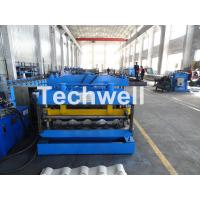 Quality Metal Glazed Wave Tile Roll Forming Machine With Welded Wall Plate Frame and Chain Drive for sale