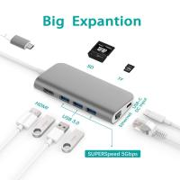 Quality Type C Adapter 8 in 1 USB C Hub for MacBook Pro USB-C 40Mbps 100W Power Delivery USB-C 5Gbps Data 4K HDMI,microSD/SDcard for sale