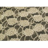 Quality Eco-Friendly Brushed Lace Fabric Yellow , Garment Trimming Anti-Static Material CY-LQ0039 for sale