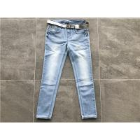 China Milk / Light Blue Ladies Stretch Denim Jeans , Belted Skinny Jeans TW72964 on sale