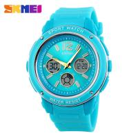 Quality Small Blue Analog Digital Wrist Watch 5ATM Water Resistant Dual Time Zone for sale