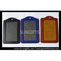 Quality Vertical color frame leather card holder, business leather badge holders for sale