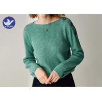 Buy cheap Buttons On Shoulder Womens Knit Pullover Sweater Boat Neck Pass Social Audit from wholesalers