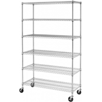 Quality 6 Tier Industrial Wire Shelving rack 72 Inch Height Strong Welded for sale