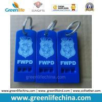 Quality Hot Selling Blue Whistle Flat Type w/Custom Logo Imprinting Key Ring for sale