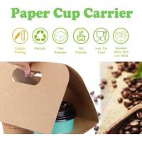 China Cardboard paper coffee cup holder carrier,2 pack coffee cup drink paper carriers,Take Out 2 Pack Coffee Cup Drink Carrie on sale