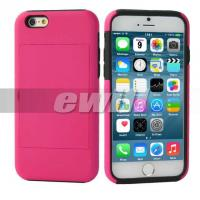 """Best Mobile Cell Phone Case With Credit Card for iPhone 6 4.7"""" color hot pink wholesale"""