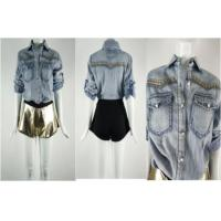 China Shirt  (denim Wash | Longsleeve | Front Pockets And Studs) on sale