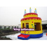 China Hand Drawed Happy Birthday Cake Inflatable Bouncy Castle For Family 4m Diameter on sale
