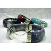 Quality Natural stones bangle with silver for sale