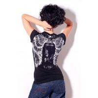 Quality Womens bling bling tshirt angels wings printing and stones for summer for sale