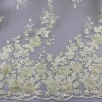 Quality 3D Floral Lace Fabric With Beaded Embroidered Polyester Fiber For Party Gowns for sale