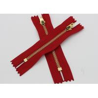 Red Tape Brass Long Coat Zippers , Normal Brass Teeth Jeans Bulk Metal Zippers