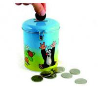 Quality round coin bank tin box for sale
