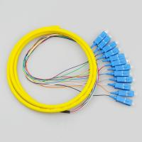 9/125 Single Mode Pigtail , 12 Core Optical Fiber Cable Customized Length