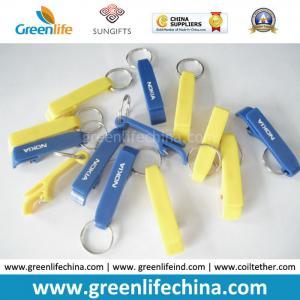 Quality Custom Logo Printing on Cheap Popular Plastic Bottle Opener Key Ring Holders for sale