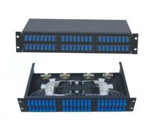 Best 48 ports Rack-Mount  19'' 2U Fiber Optic Patch Panel for SC/UPC adapter terminal box black cold-roll steel sheet wholesale
