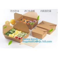 China New Brown Kraft Takeaway Lunch Box Paper Folding Lunch Box Disposable Food Container Biodegradable Packaging Paper Box on sale