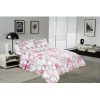 Quality White And Pink Printed Quilt Set 100 Percents Cotton For Household Bedroom for sale