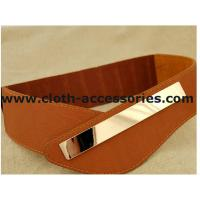 China Brown Ladies Elastic Stretch Belts for dresses , 90×7 cm Metal Trim Wide Belts on sale