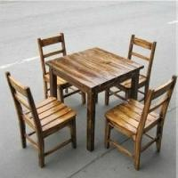 Quality sell outdoor table and chair from carbonize pine for sale