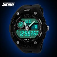 Quality  Men Multifunction Sport Watch Two Time Zone Green Strong Shock Waterproof EL Backlight for sale